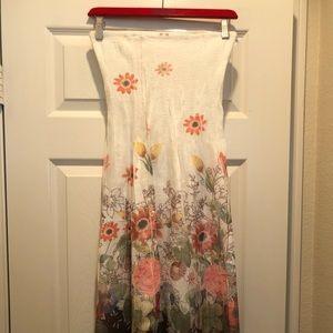 Women's long spring flowered dress or skirt.